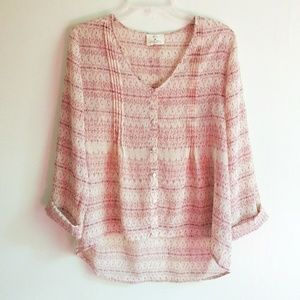 Pins and Needles Long Sleeve Sheer Pink Print Top